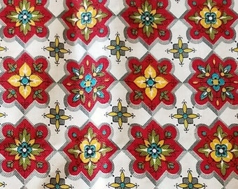 """Vintage Cotton Fabric 36"""" Wide BTY 4 Yards Available - 1950s 1960s Repeating Block Print Diamond Floral"""