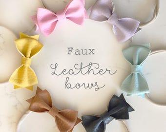 Faux leather bows | Leather bows | Leather bow headband | infant headband | nylon headband