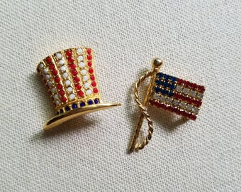 Rhinestone American Flag - Pin    AND      Uncle Sam Hat -  pin  (comes as a set)
