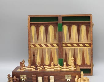 """14""""Hand Made Inlaid Backgammon & Chess set,Solid wooden board game set"""