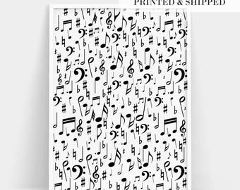 Music Notes Print, Music Notes Poster, Treble Clef Print, Music Symbols Print, Scandinavian Decor, Kids Room Decor, Gift For Music Lover