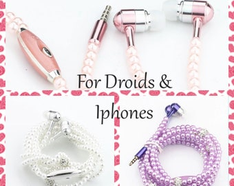 Pink earphones, pink headphones, unique headphones, beaded earbuds, pearl earbuds, pearl headphones, purple earbuds, pink earbuds.