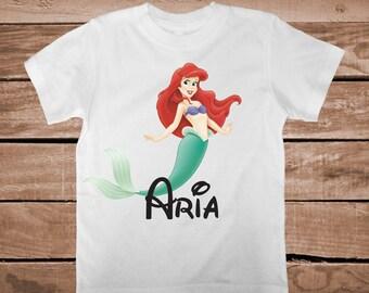 Little Mermaid Tees T-Shirt Ariel Mermaid Onesies With Name Personalized Under The Sea Princess Tees for Girls Little Mermaid Shirt, aa79
