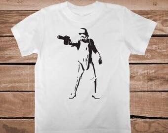 Storm Trooper Tee Shirt Tees Star Wars Stormtrooper On Tees Trooper T-Shirt Graphic Star Wars Onesie Kids Star Wars Birthday Shirt, bb09