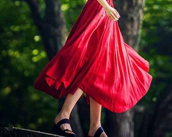 Linen skirt,Linen skirt,red linen dress