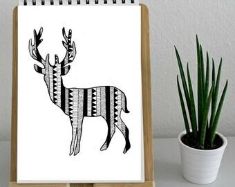 Deer Wall Art deer in smoking jacket deer illustration wall art wall decor