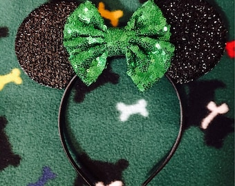 Green Sequin Bow Minnie Mouse Ears