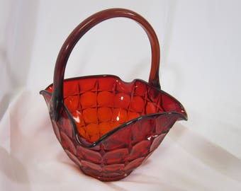 Indiana Glass Constellation Basket Amberina Red Sunset Large Ruby Centerpiece
