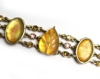 Vintage Yellow Opalescent and Rhinestone Goldtone Bracelet #401