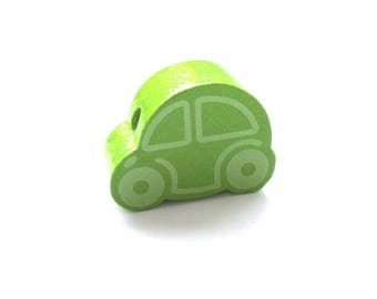 Small car - Apple green wooden bead