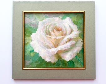 Oil Painting Original floral home bedroom hall living room interior decor ivory rose flower square still life impressionism artwork gift for