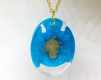 Blue and Gold Oval Pendant