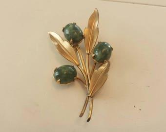 12Kt GF Gold Filled Jade Flower Brooch Pin E
