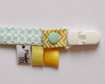 "Fabric pacifier clip ""geometric"" light blue color"
