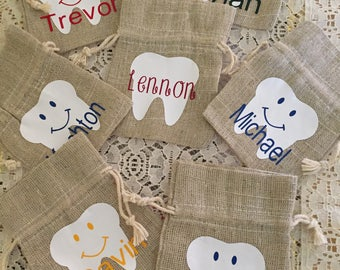 Tooth Fairy Bags /Tooth Fairy Baggies/ Tooth Bags/ Pouches/Linen Drawstring Pouch/Teeth Bags