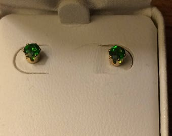 Natural Russian Chrome Diopside 14k Gold Filled Stud Earrings  4mm