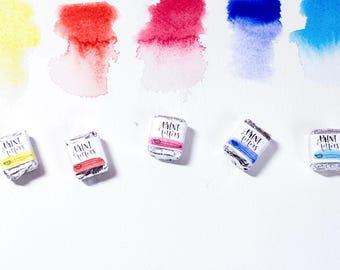 Handmade Watercolor Paint  6 Half Pans of Artisinal Watercolor in Travel Tin