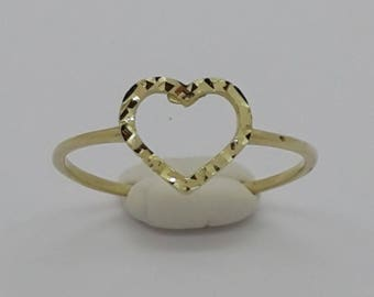 Yellow Solid Gold 14k Heart Shape Ring New Women Valentine Size
