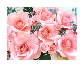 14 piece paper flowers pink roses tropical set
