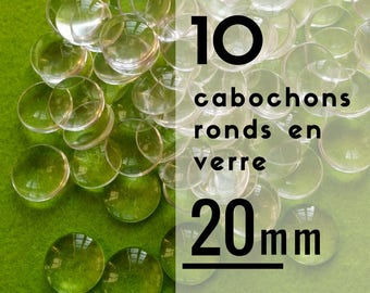 10 - 20 mm - set of 10 cabochons glass round cabochons