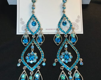 Aqua Blue Royalty Runway Collection Chandelier Earrings