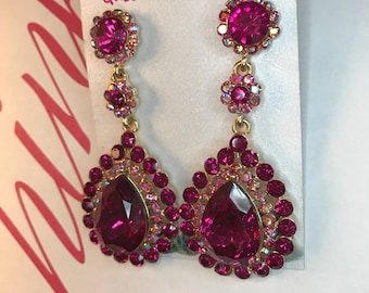Dark Hot Pink Austrian Crystal Chandelier Earrings Pierced