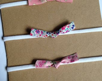 Liberty knot trio, pink headbands, pink hair clips
