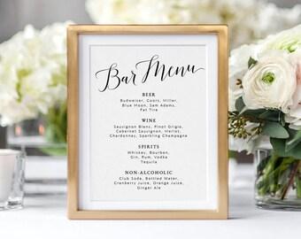 Wedding Bar Menu Sign Template | Printable Bar Menu Wedding Sign | DIY Wedding Sign Bar Menu Printable | Table Sign Wedding Template