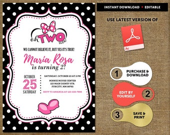 Minnie Mouse Invitation, Minnie Mouse Invitation 2nd Birthday, Twodles Invitation, Minnie Mouse Birthday Invitation, Twodles Invite Digital
