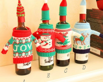 Cute Snowman Wine Bottle Cover Holiday Christmas Wine Bottle Outfits Gift Set