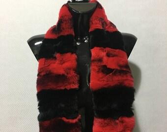 Red & Black Rex Chinchilla Real Fur Scarf