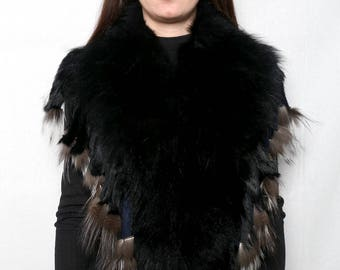 Genuine Real Black & silver Fox Fur Collar