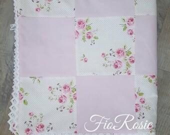 Baby blanket quilt pink/rose