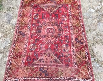 Red Carpet rug Vintage Turkish Rug Canakkale Carpet Area Rug Kitchen Rug wool rug 5.6x4.1 ft - CP12002