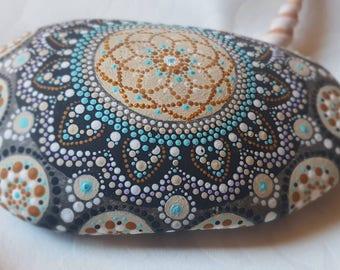 Mandala stone, gift idea, home trend, Garden decoration, dot stone