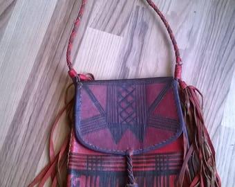 indian leather bag fringes vintage