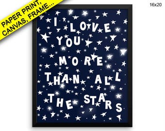 Stars Wall Art Framed Blue Canvas Print Stars Framed Wall Art Blue Poster Stars Nursery Art Blue Nursery Print Stars Illustration Prints