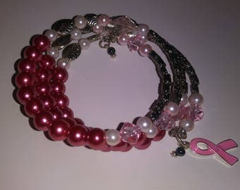 Crystal wrap, memory wire coil bracelet for breast cancer awareness