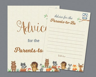 Advice for the Parents to Be Printable, Woodland Baby Shower Advice Cards, Forest Animals , Owl, Fox, Deer, Bear, Mommy Daddy, Parents, B009