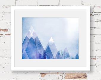 geometric mountain art print, instant download printable art, scandinavian kids art, neutral nursery, triangle artwork, blue kids decor