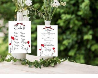 Maxi label customizable wedding, birthday, communion, baptism, poppy Theme table plan