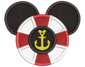 Disney Mickey Anchor Applique Embroidery Design - Instant Download