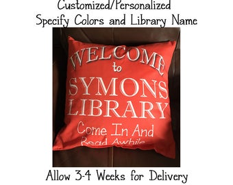 Customized/Personalized Library Throw Pillow