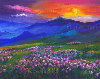 Art Print for Home, Mountain Landscape, Printable art, Beautiful Landscape, Art Landscape, Flowers Landscape, Print Landscape, Digital print