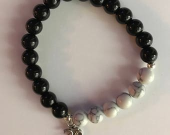Om Charm Black and White Beaded Bracelet