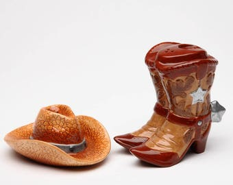 Cowboy Boot and Hat Salt and Pepper Shaker Set (20703)