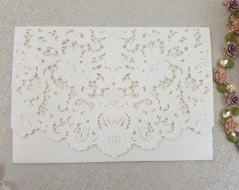 Laser Cut and Embossed Lace Wedding Invitation Pocket Wrap Elegant Classic Rustic Vintage