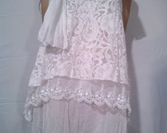 Two tiered white lace dress