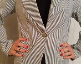 White and grey striped jacket