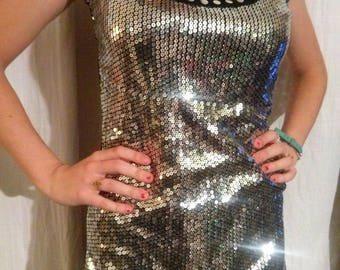 Long tank top front with glitter silver